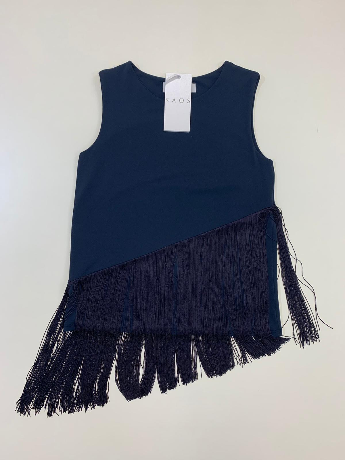Blusa Donna Kaos Collection Frange Jersey Blu