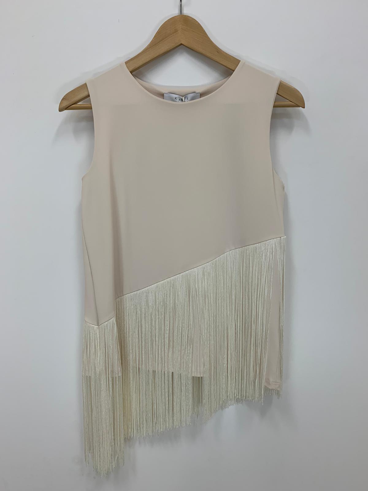 Blusa Donna Kaos Collection Frange Jersey Vaniglia