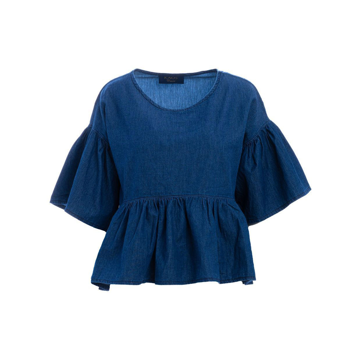 Blusa Donna kaos Denim In Cotone Blu
