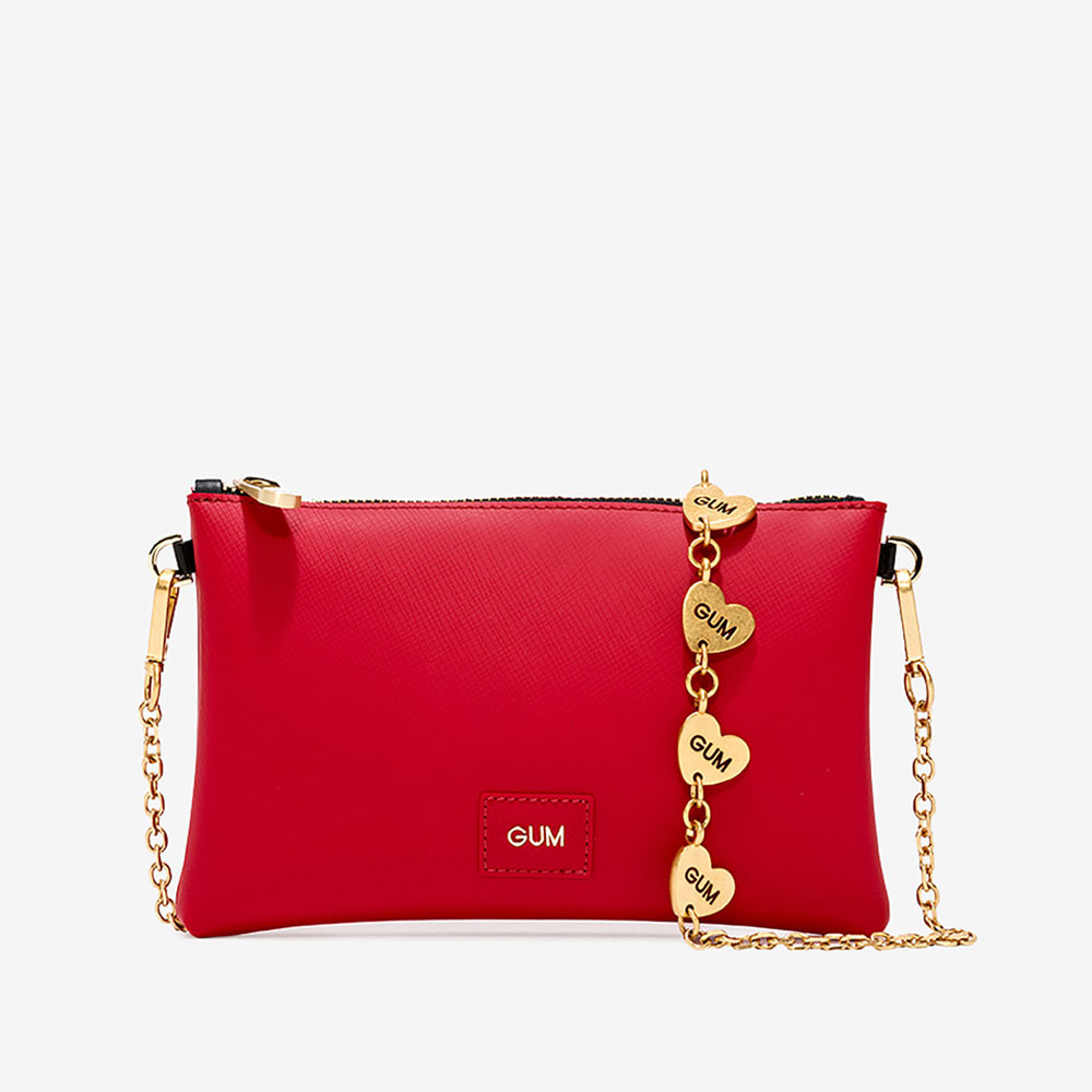 Borsa Gum Heart Chain Straw Berry Rosso