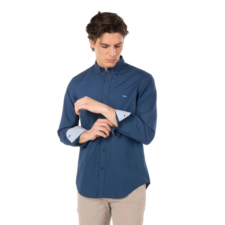 Camicia Harmont E Blaine 2 Tessuti Cotone Micro Pois Blu