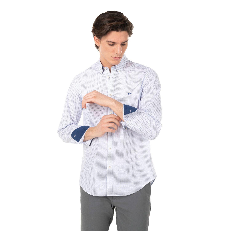 Camicia Harmont E Blaine 2 Tessuti Cotone Stampa Micro Geometrie Azzurro