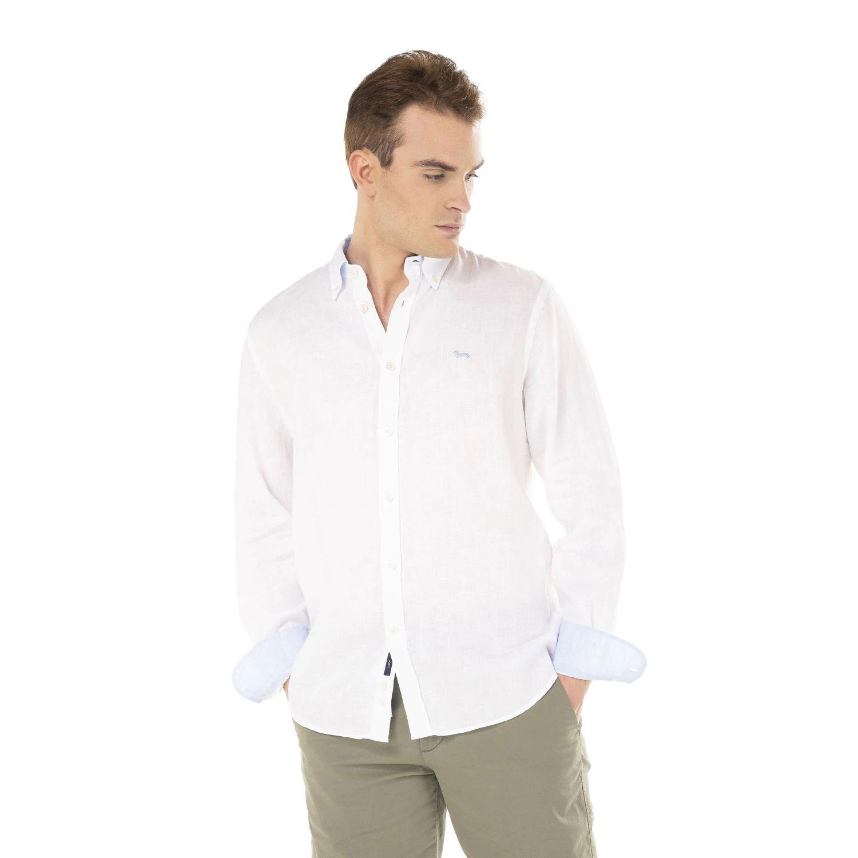 Camicia Harmont E Blaine 2 Tessuti Lino con Contrasti Colore Bianco