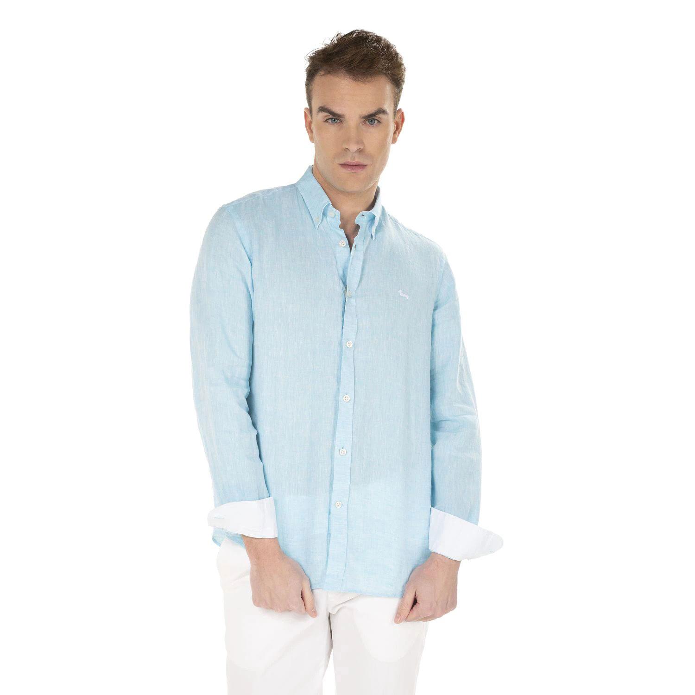 Camicia Harmont E Blaine 2 Tessuti Lino con Contrasti Colore Celeste