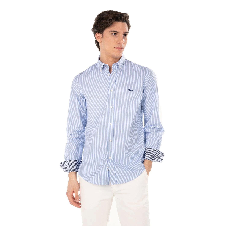 Camicia Harmont E Blaine Cotone a Riche con Righe e Quadretti Azzurro