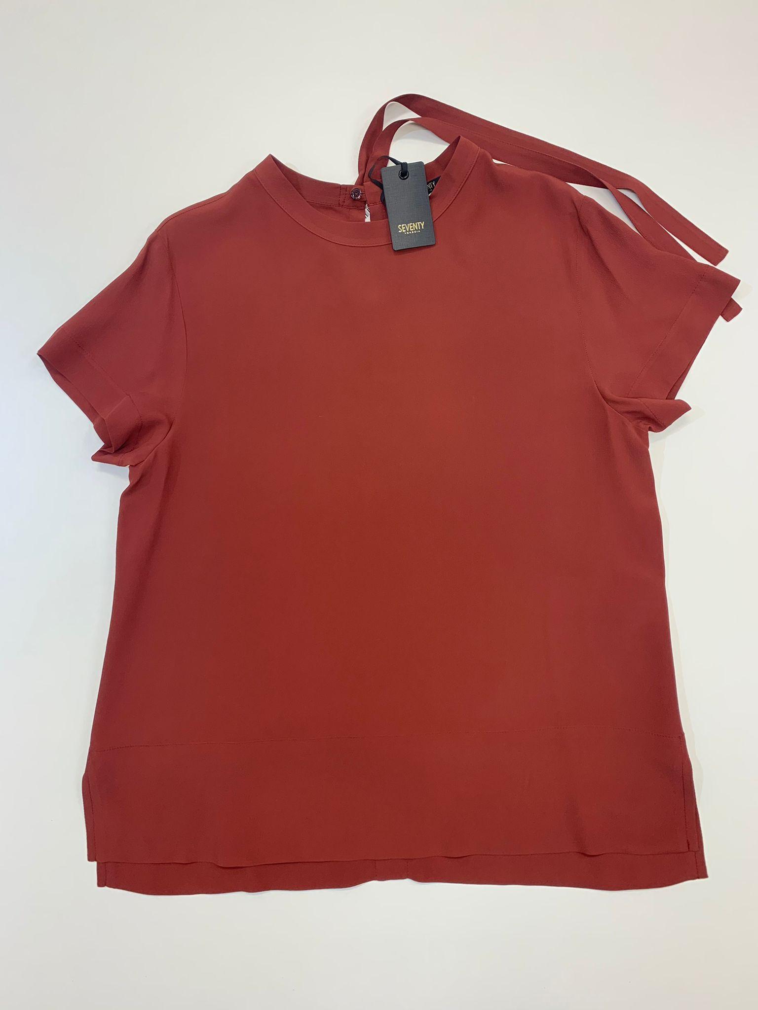 Camicia Seventy Elegante in Crepe Rossa