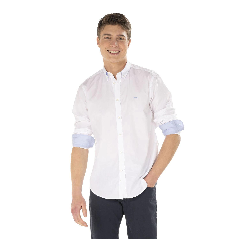 Camicia Uomo Harmont E Blaine 2 tessuti con Contrasto Colore Bianco