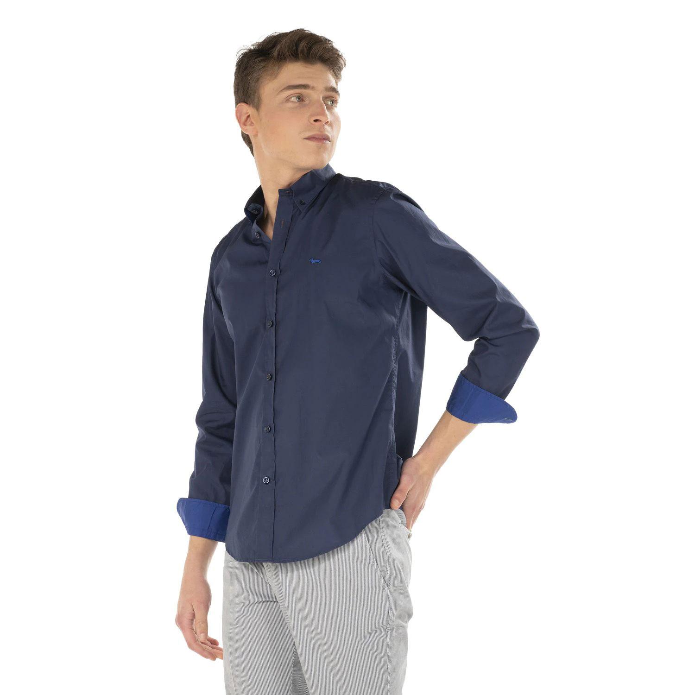Camicia Uomo Harmont E Blaine 2 tessuti con Contrasto Colore Blu