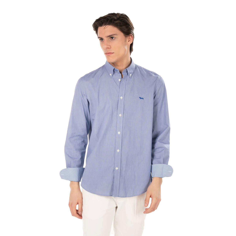 Camicia Uomo Harmont E Blaine 2 tessuti con riche a Contrasto Azzurro