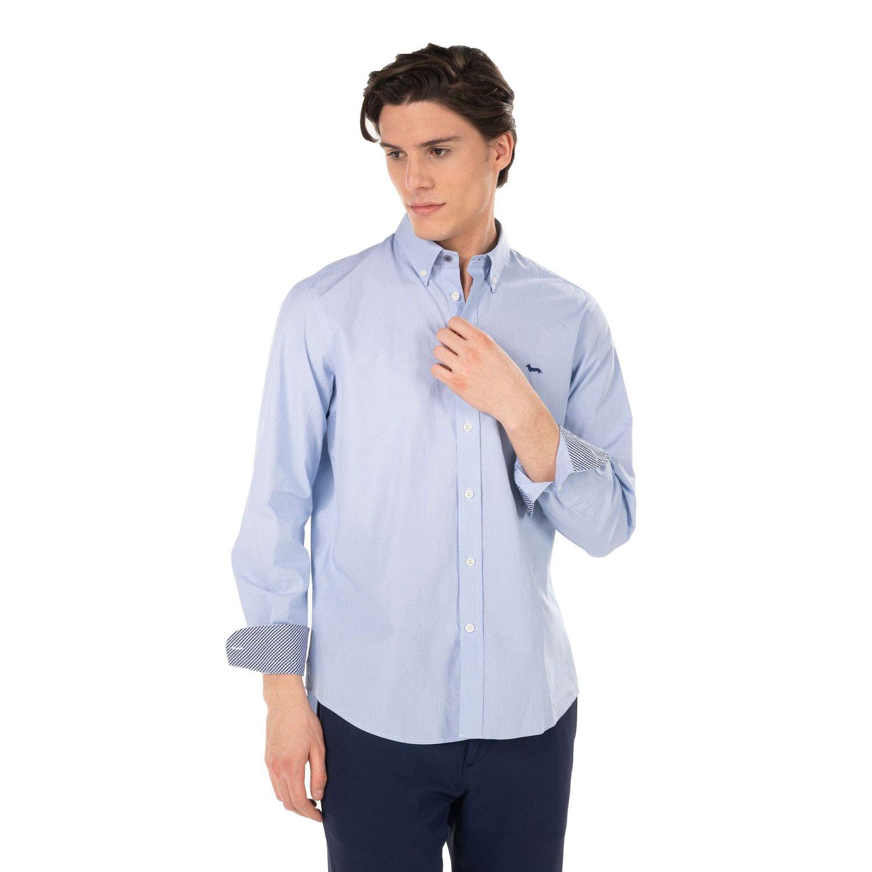 Camicia Uomo Harmont E Blaine 2 tessuti con riche a Contrasto Celeste