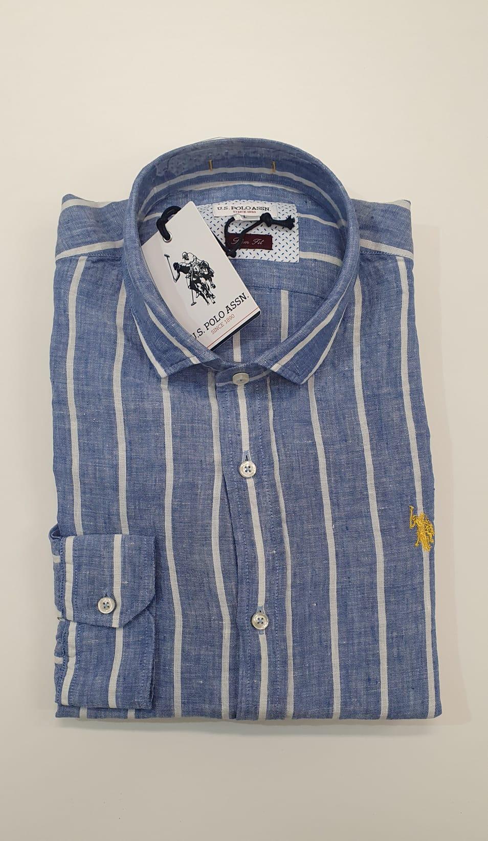 Camicia US Polo BD Lino Max Blu Bianco