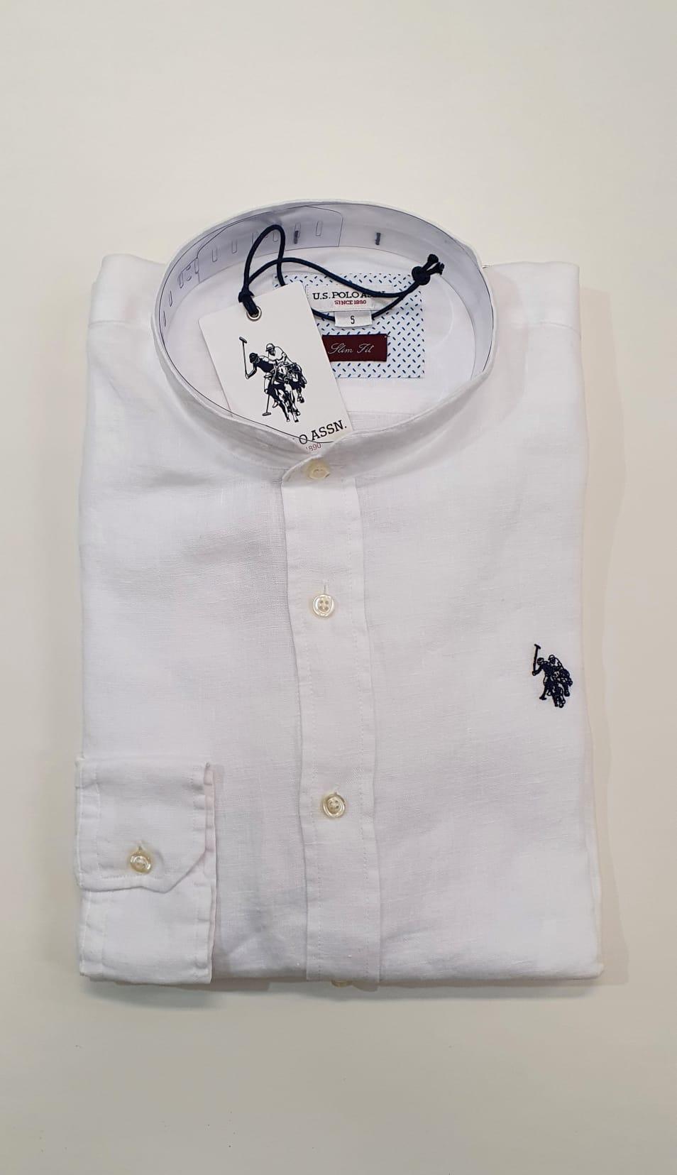 Camicia US Polo BD Lino Slim Bianco