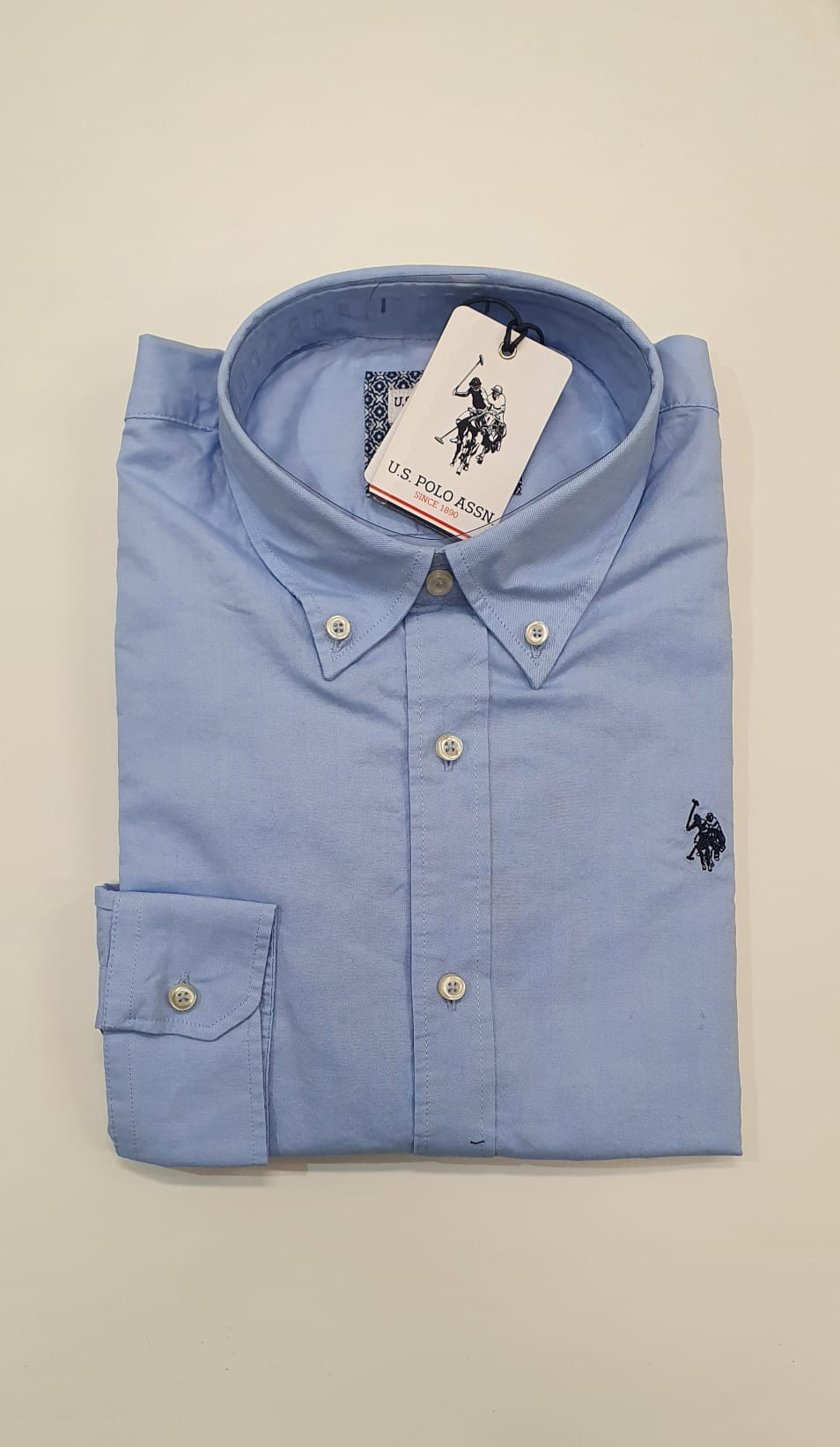 Camicia US Polo BD Oxford Celeste