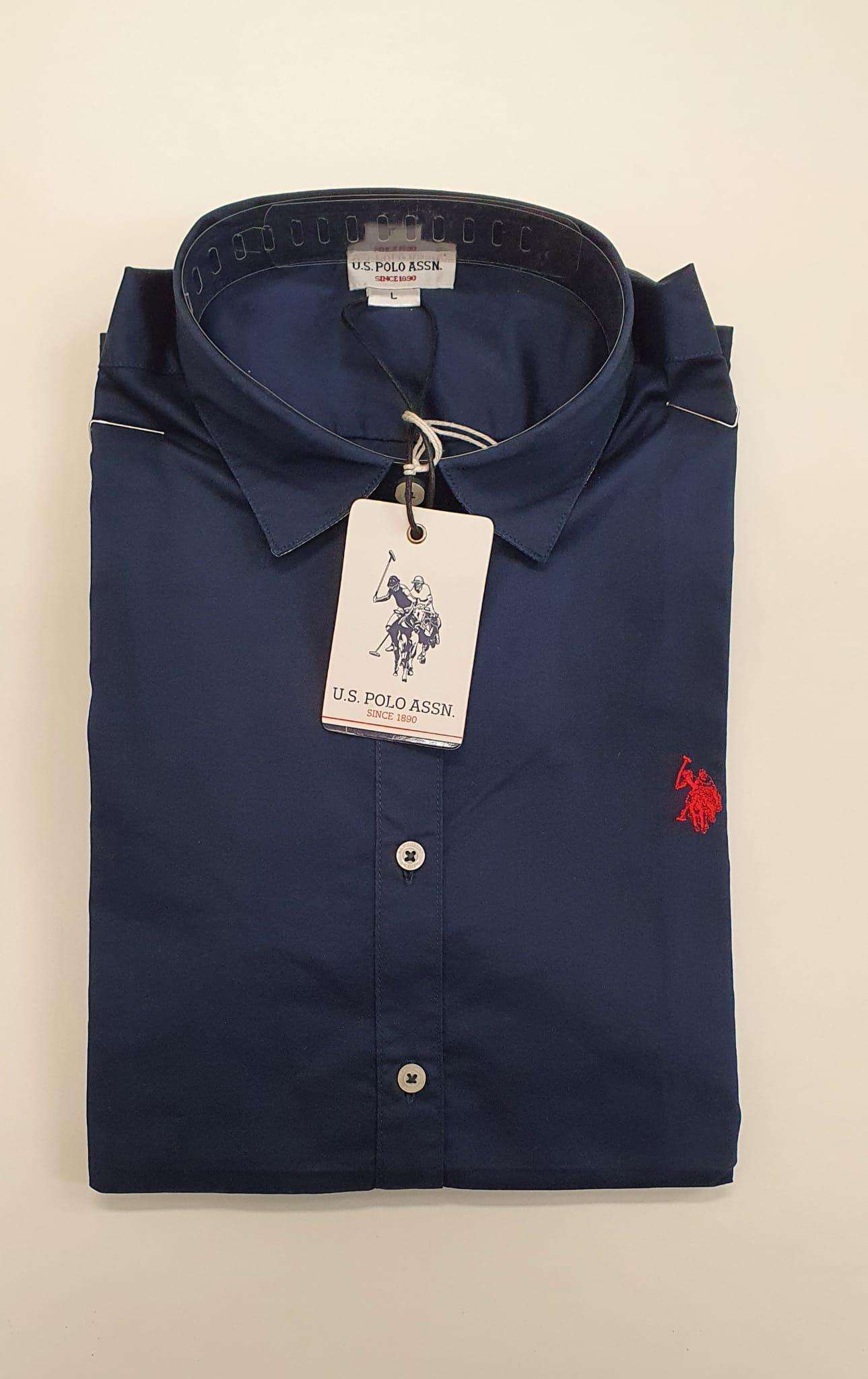 Camicia US Polo Cotone Ml Blu