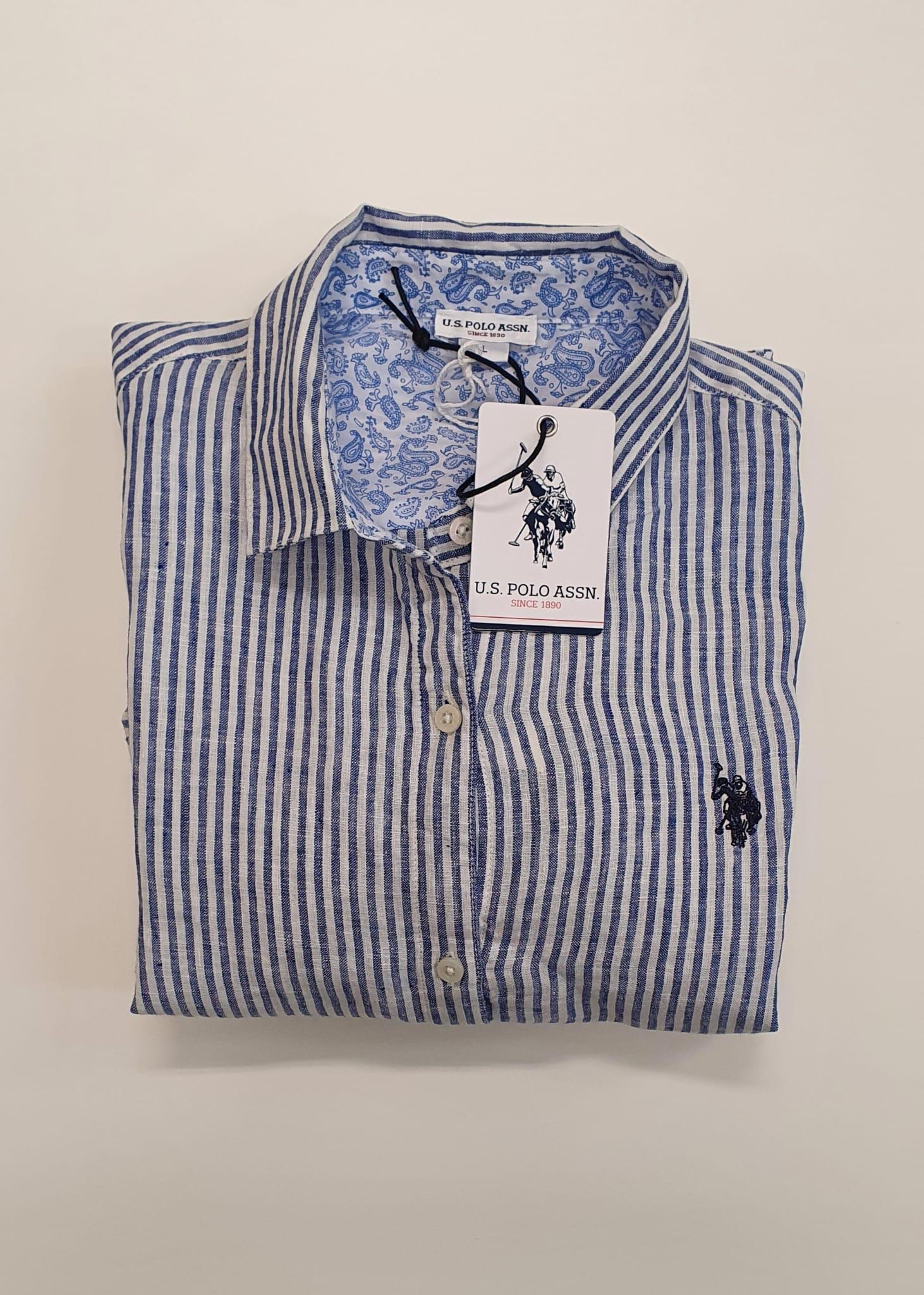 Camicia US Polo Lungo Bianco Blu
