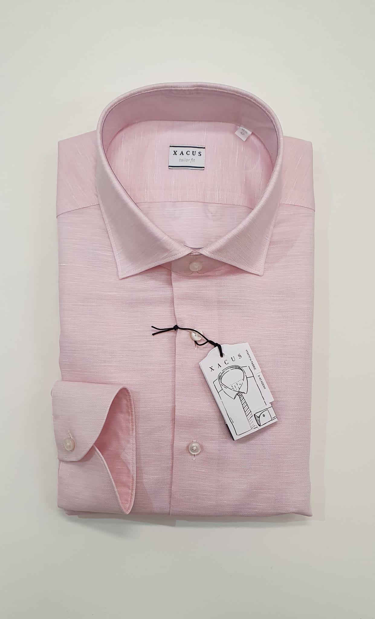 Camicia XACUS Taylor Cotone Lino Rosa