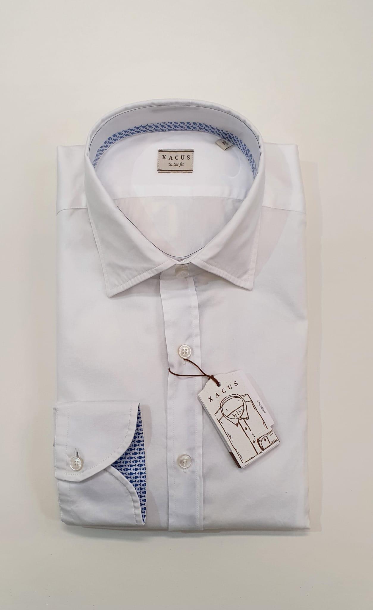 Camicia XACUS Taylor Fantasia Pesci Bianco