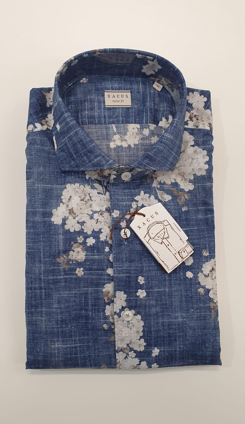 Camicia XACUS Taylor Fiori Blu