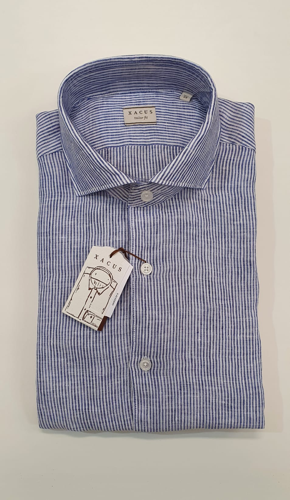 Camicia XACUS Taylor Lino Riga Bianco Celeste