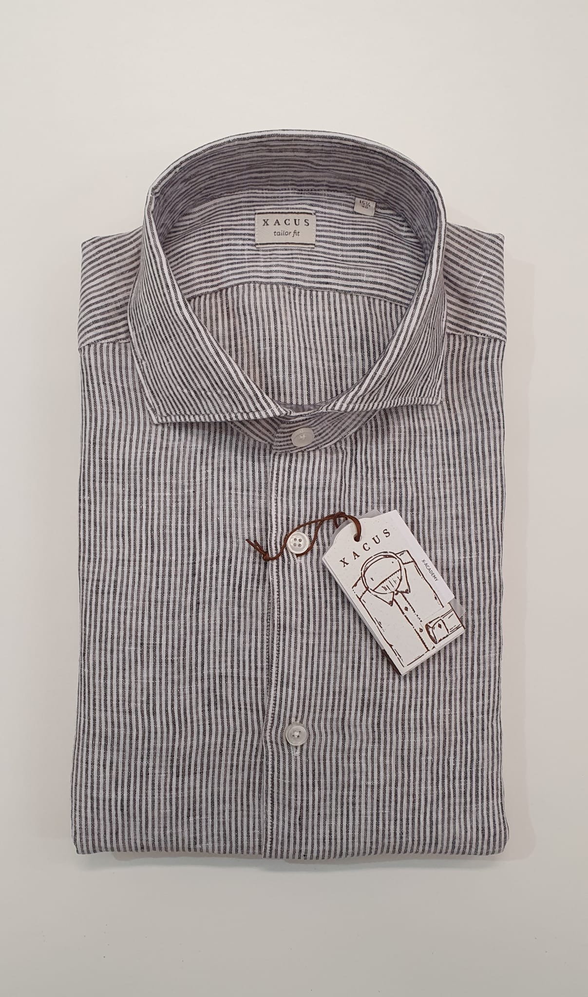 Camicia XACUS Taylor Lino Riga Bianco marrone