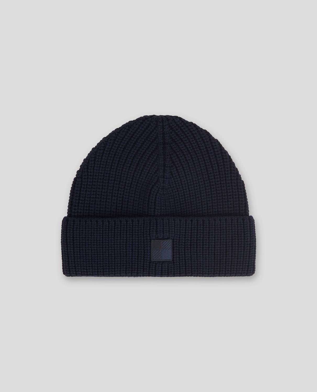 Cappello Uomo Woolrich Logo Beanie Hat Melton Blue
