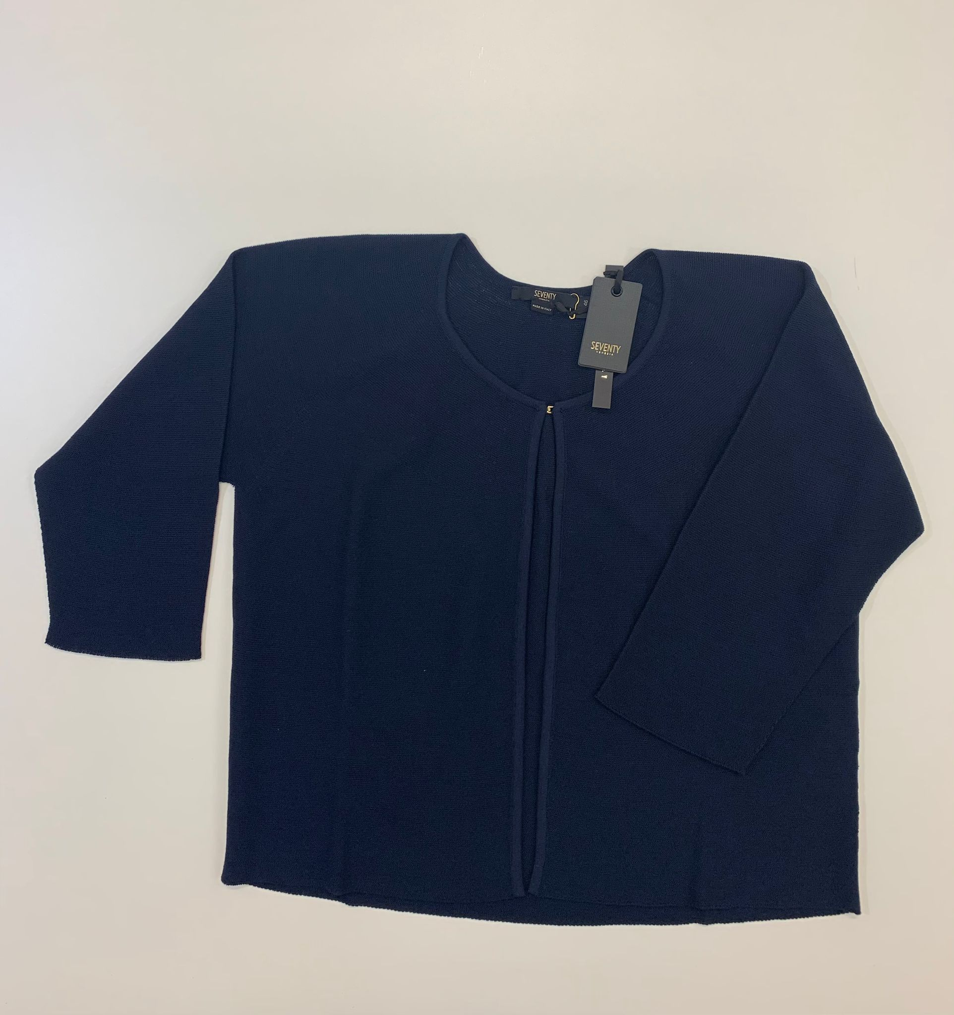 Cardigan Seventy in Maglia Di Cotone Blu