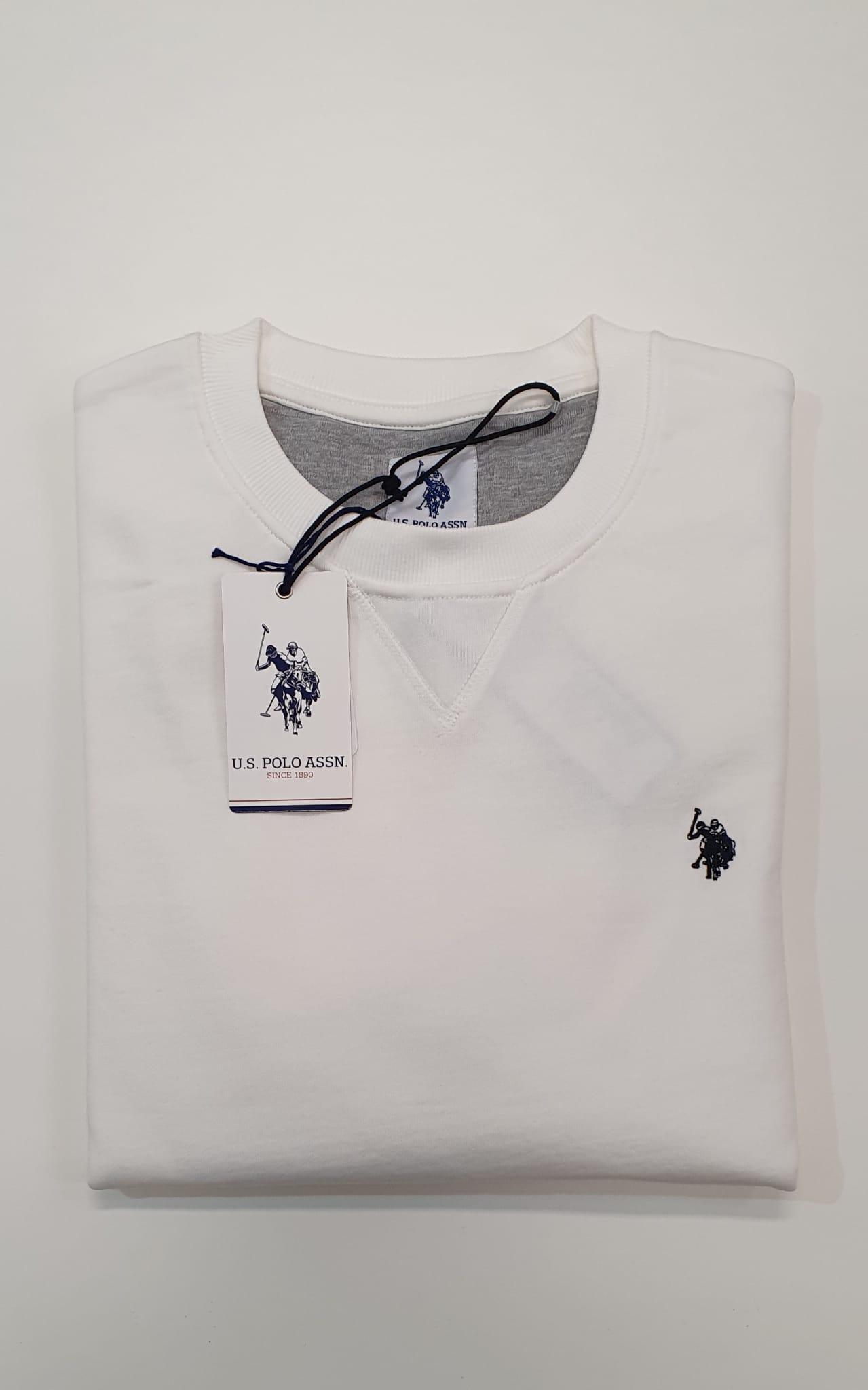 Felpa US Polo Girocollo Tinta Unita Bianco