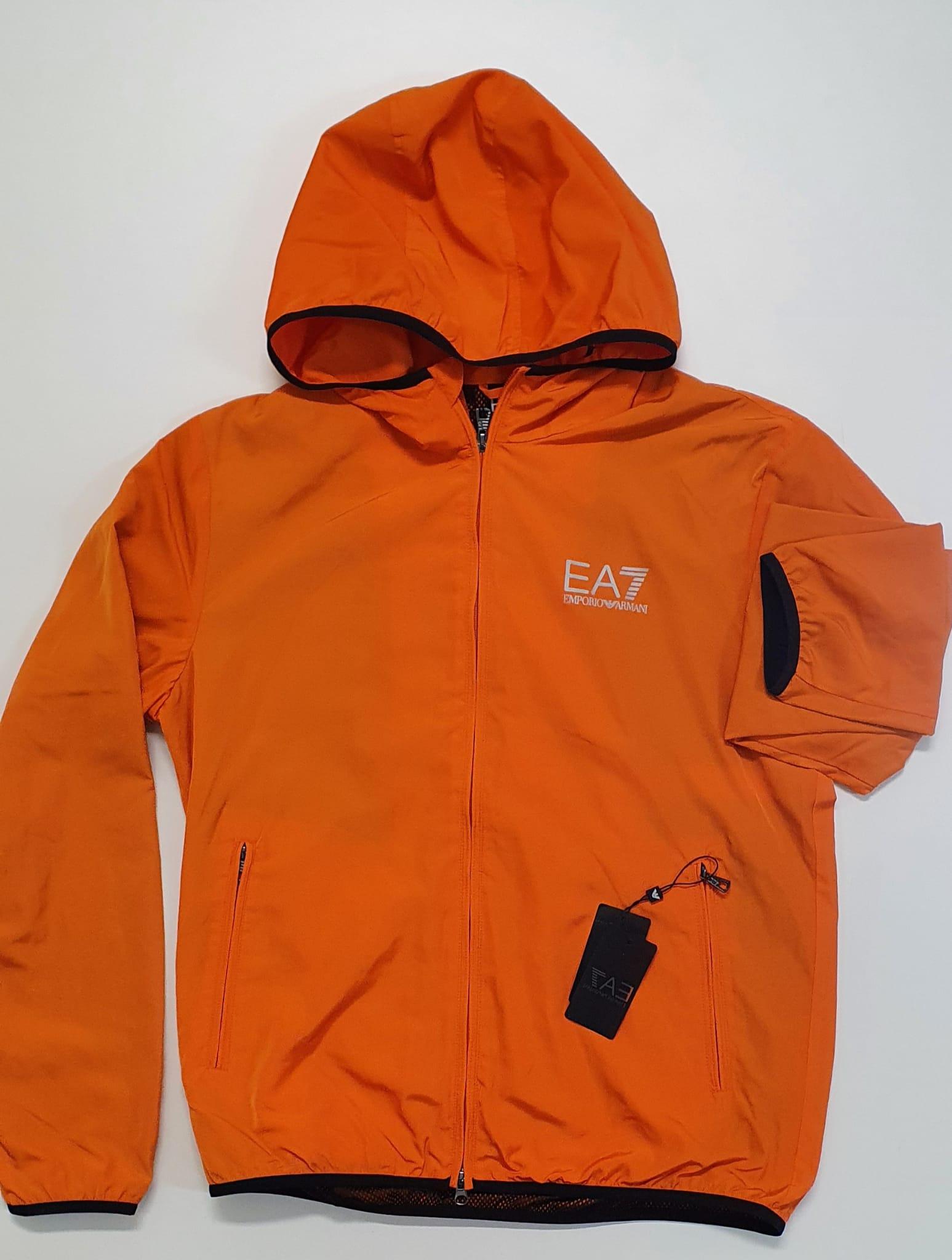 Giubbino Ea7 Liscio con Cappuccio Arancio
