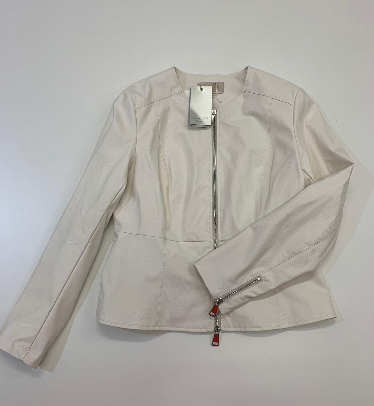 Giubbino Kaos Jeans Ecopelle Bianco