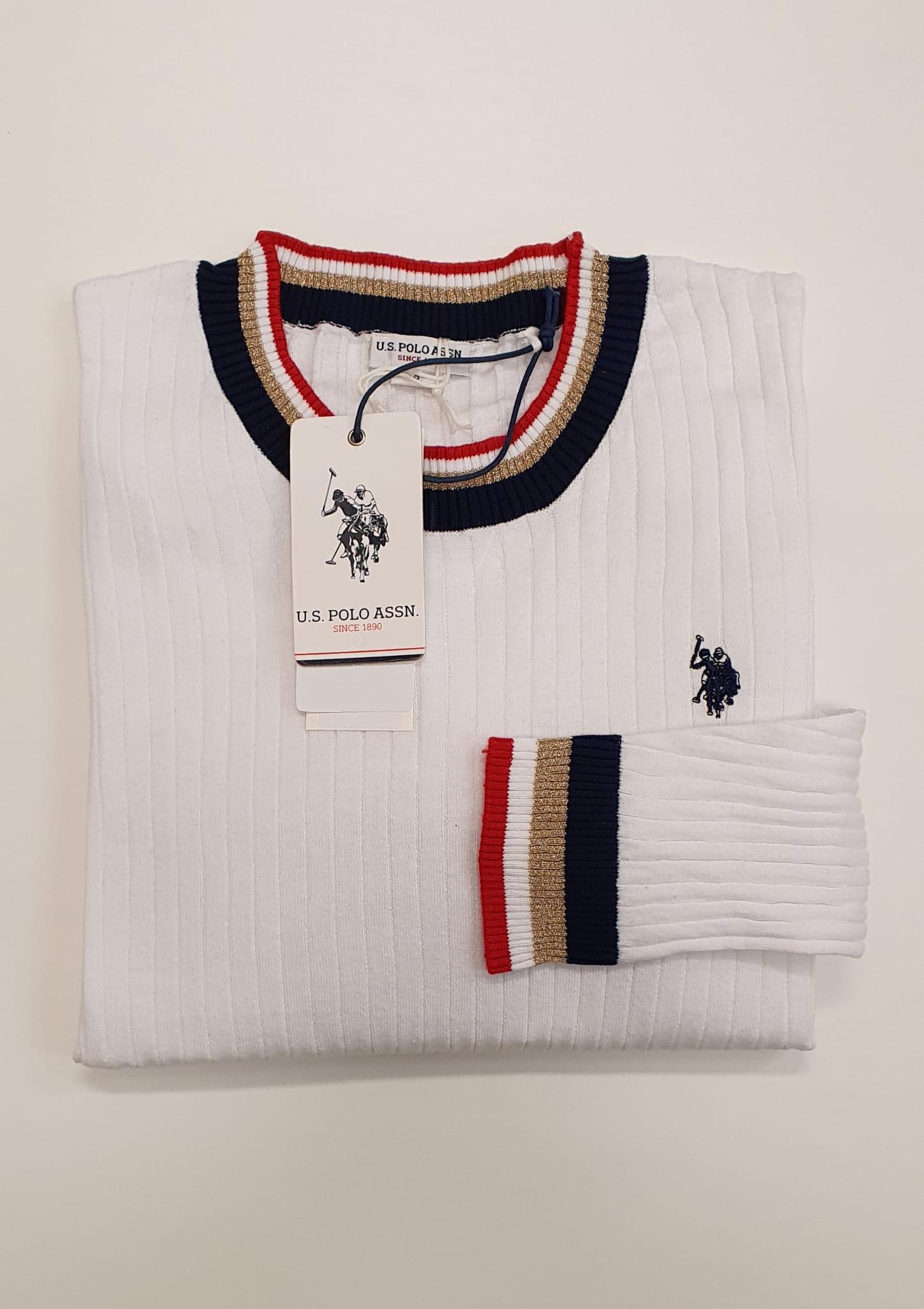 Maglia US Polo Coste Bordino Bianco