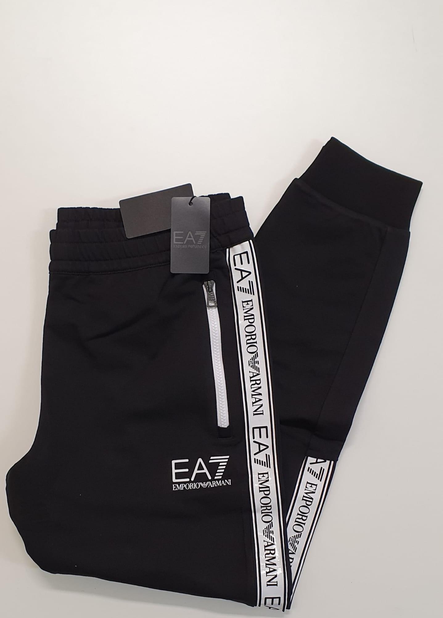 Pantalone EA7 Felpato Banda Nero