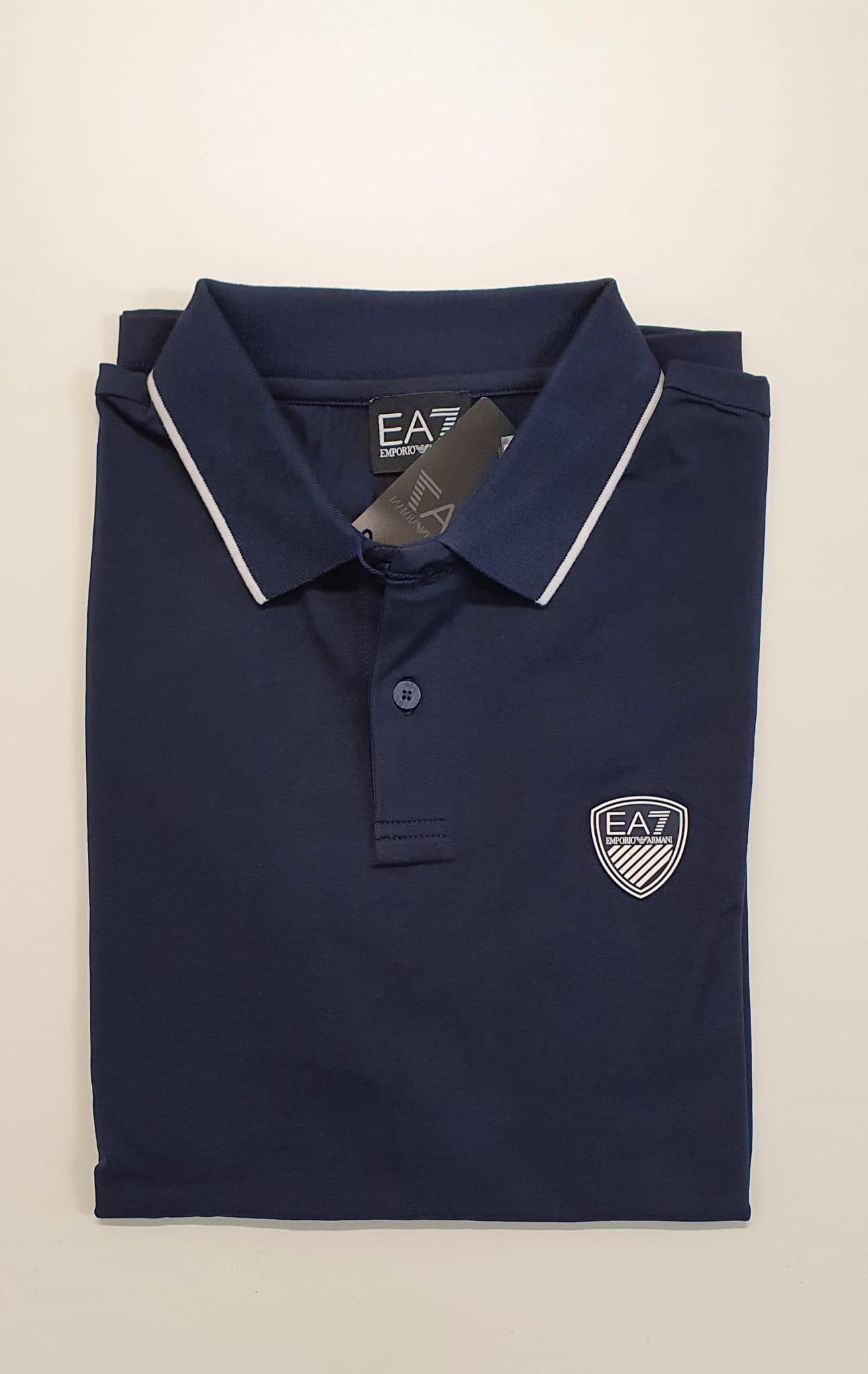 Polo EA7 Jersey Elasticizzato Blu