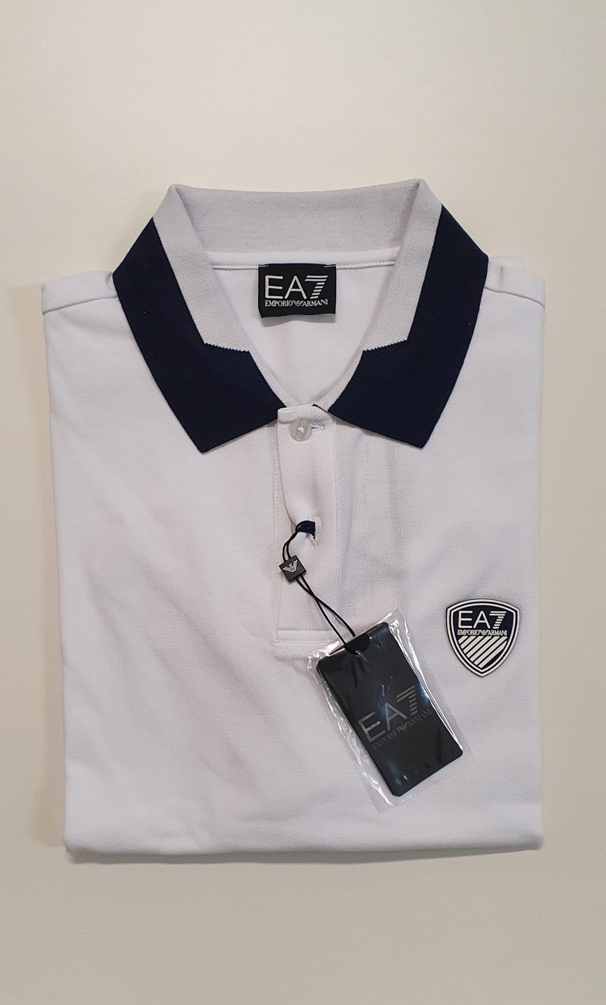 Polo EA7 Pique Elasticizzato Bianco