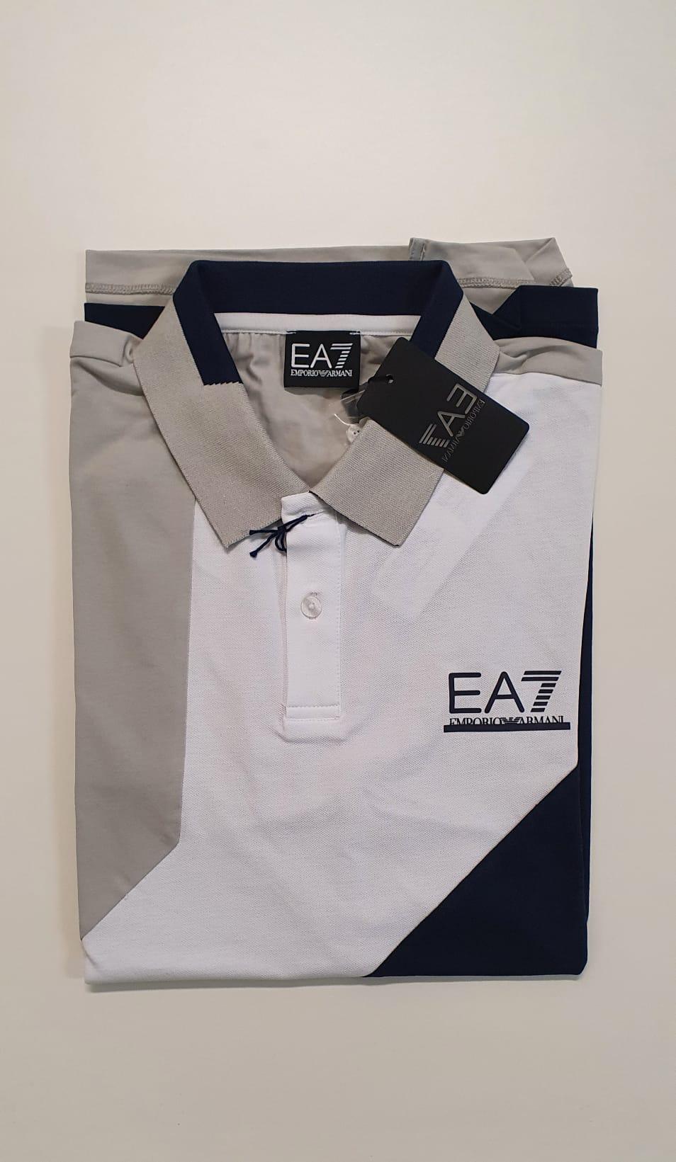 Polo EA7 Pique Jersey 3 Colori Blu