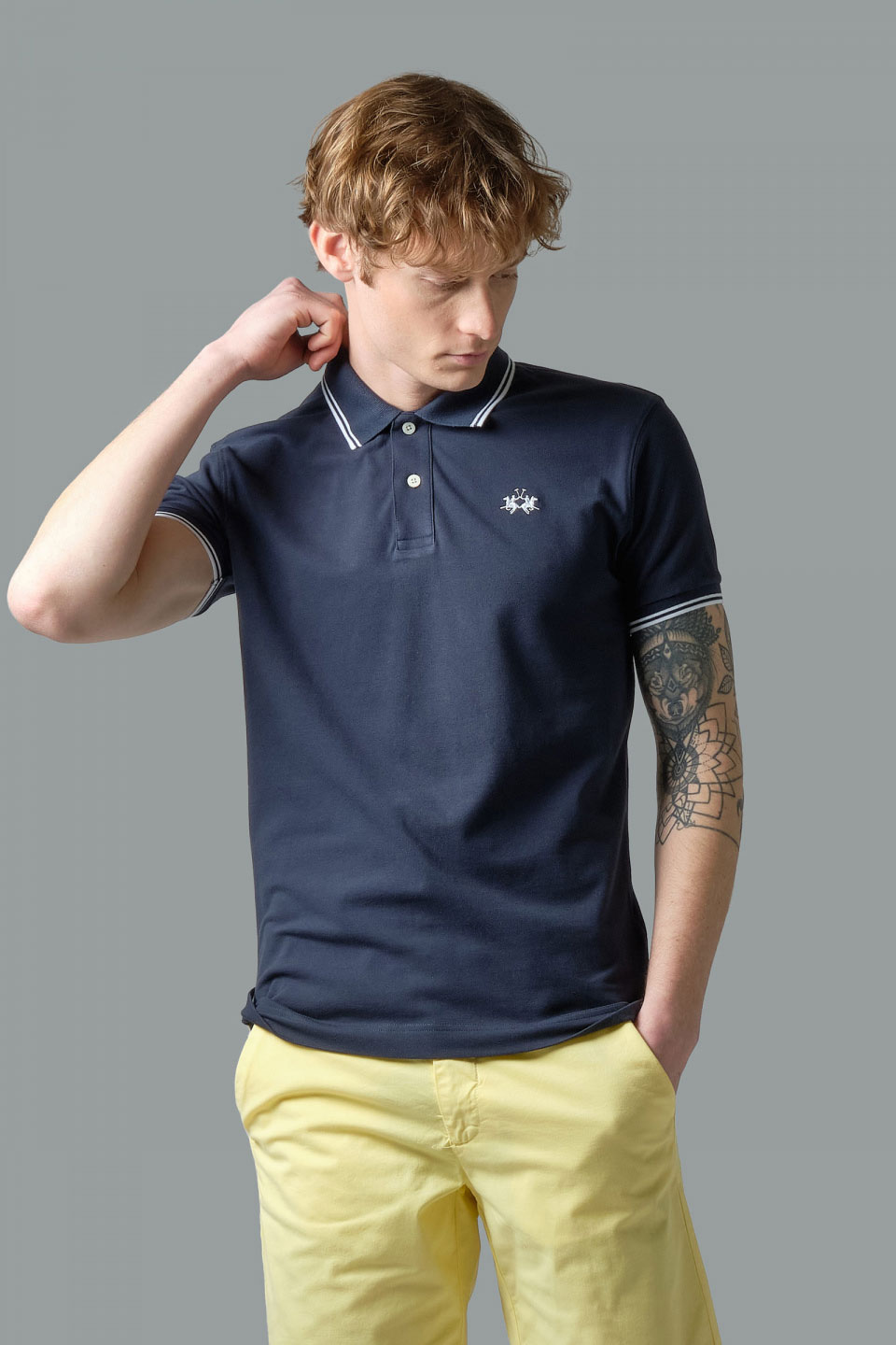 Polo La Martina in Pique Elasticizzato Slim Fit Blu