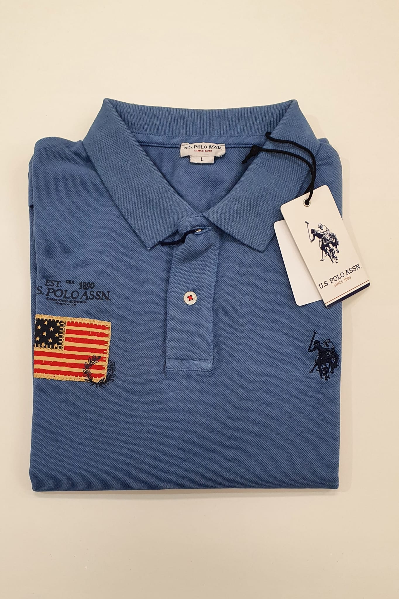 Polo US Polo Pique Lavato Patch Denim