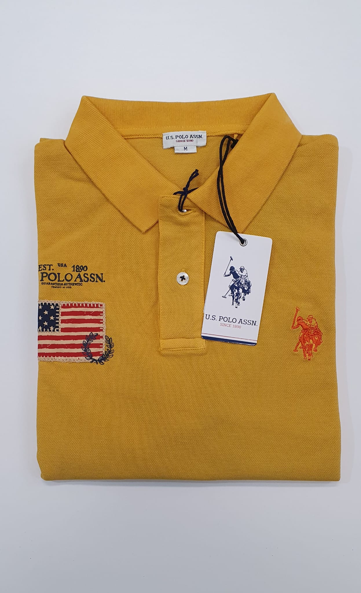 Polo US Polo Pique Lavato Patch Giallo