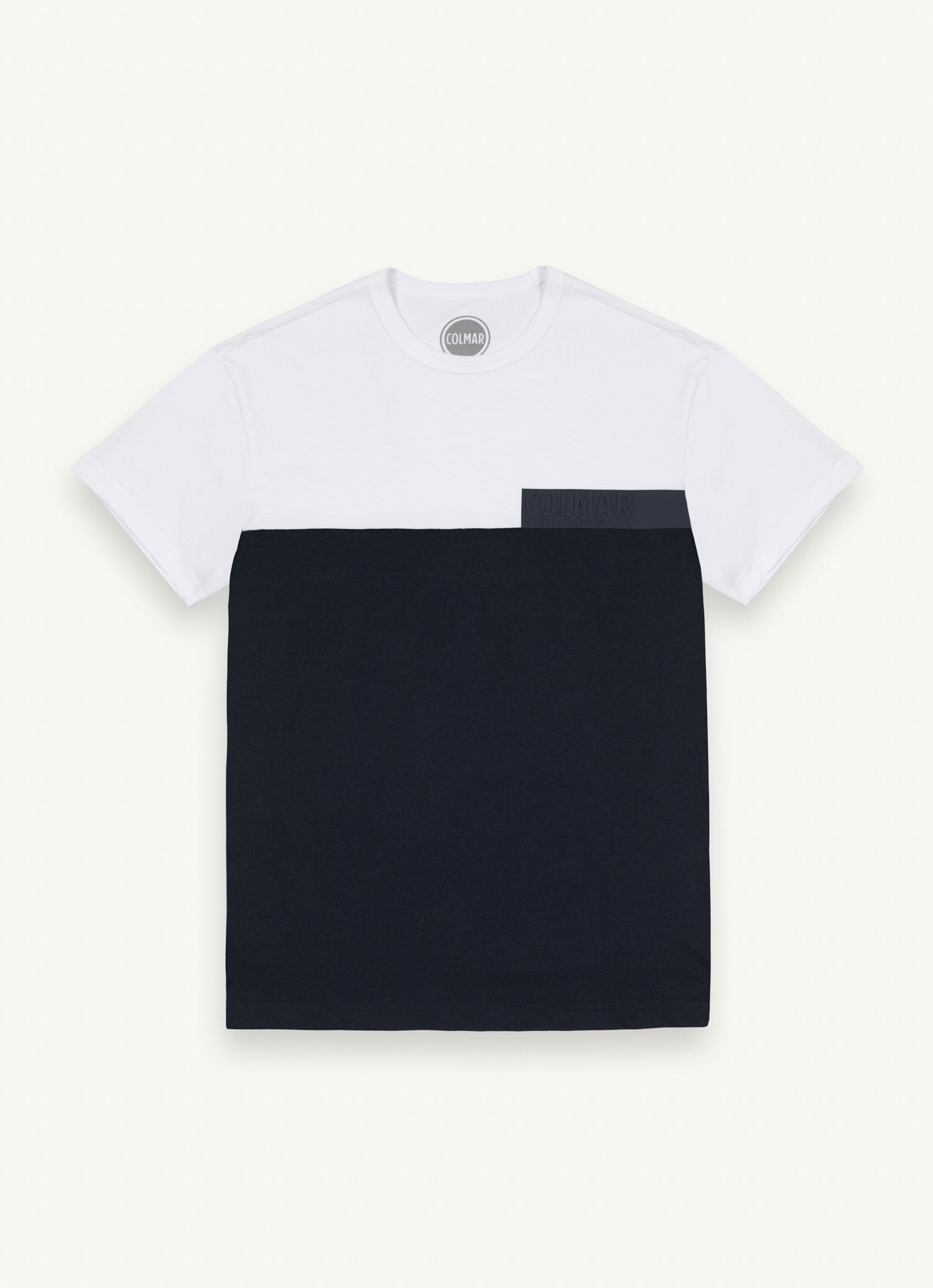T-Shirt Colmar Uomo Colorblock con Scritta Transfer Blu