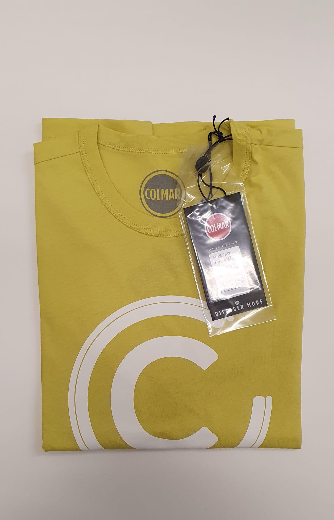 T-Shirt Colmar Uomo in Cotone Maxilogo Giallo