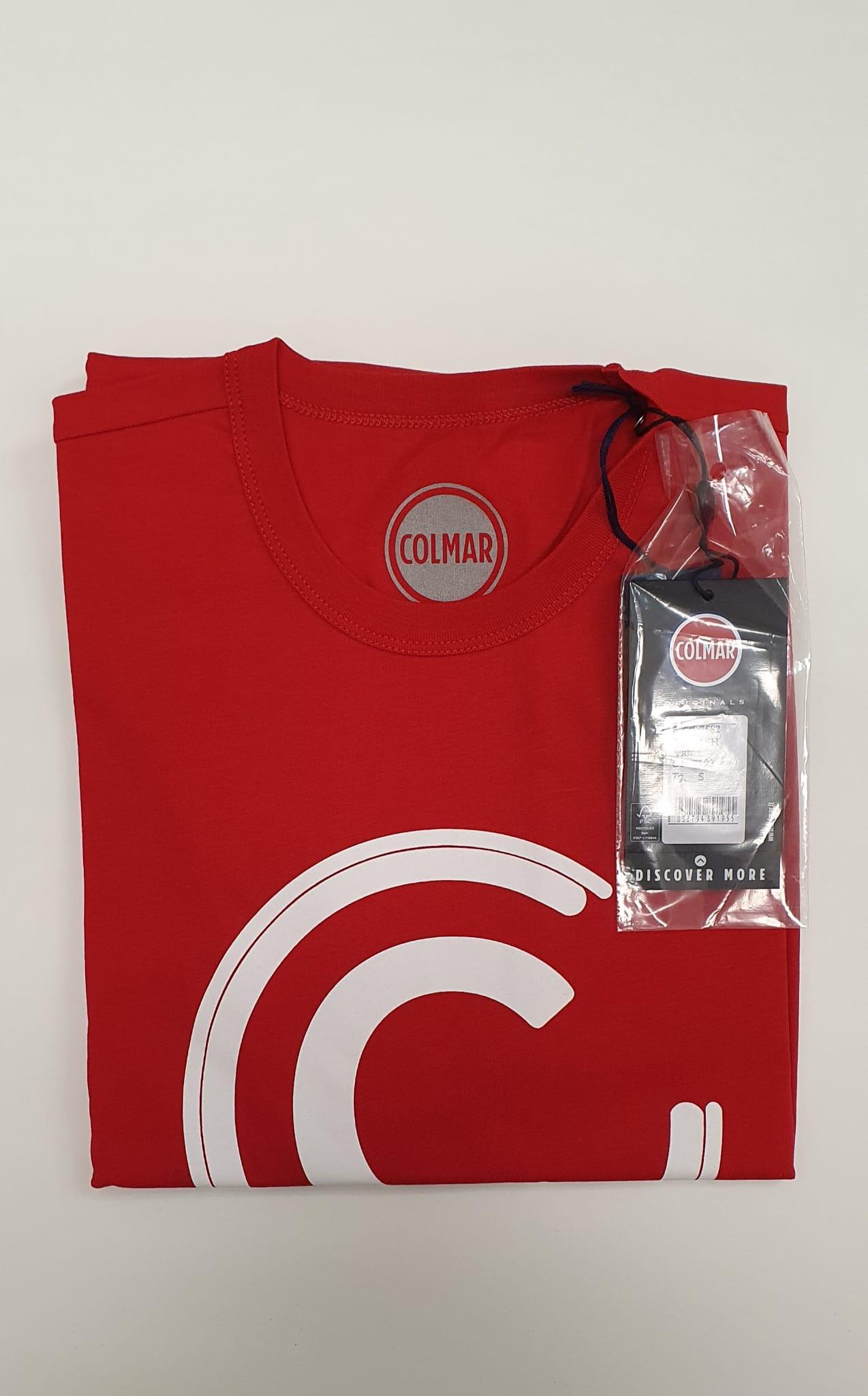 T-Shirt Colmar Uomo in Cotone Maxilogo Rossa