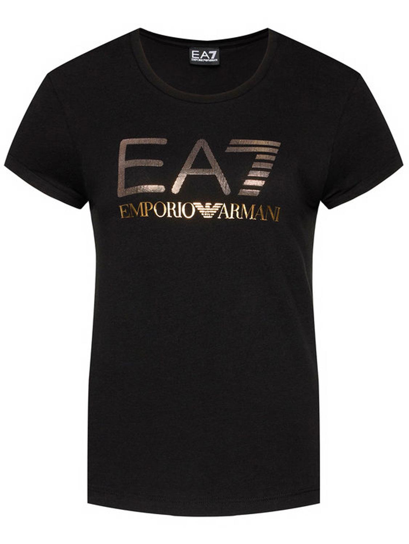 T-Shirt Donna EA7 in Jersey Stretch Logo Dorato Nero