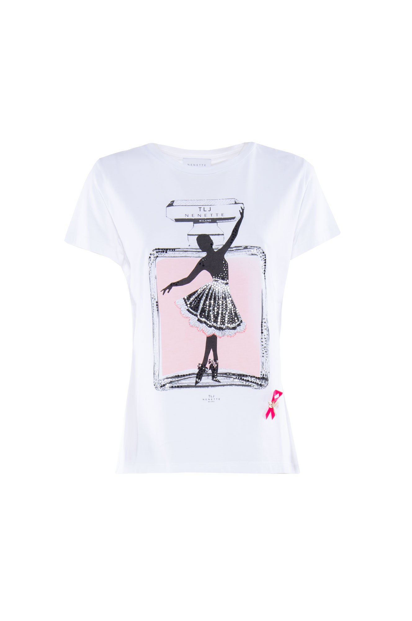 T-Shirt Donna Nenette Dark Stampa Ballerina Bianco