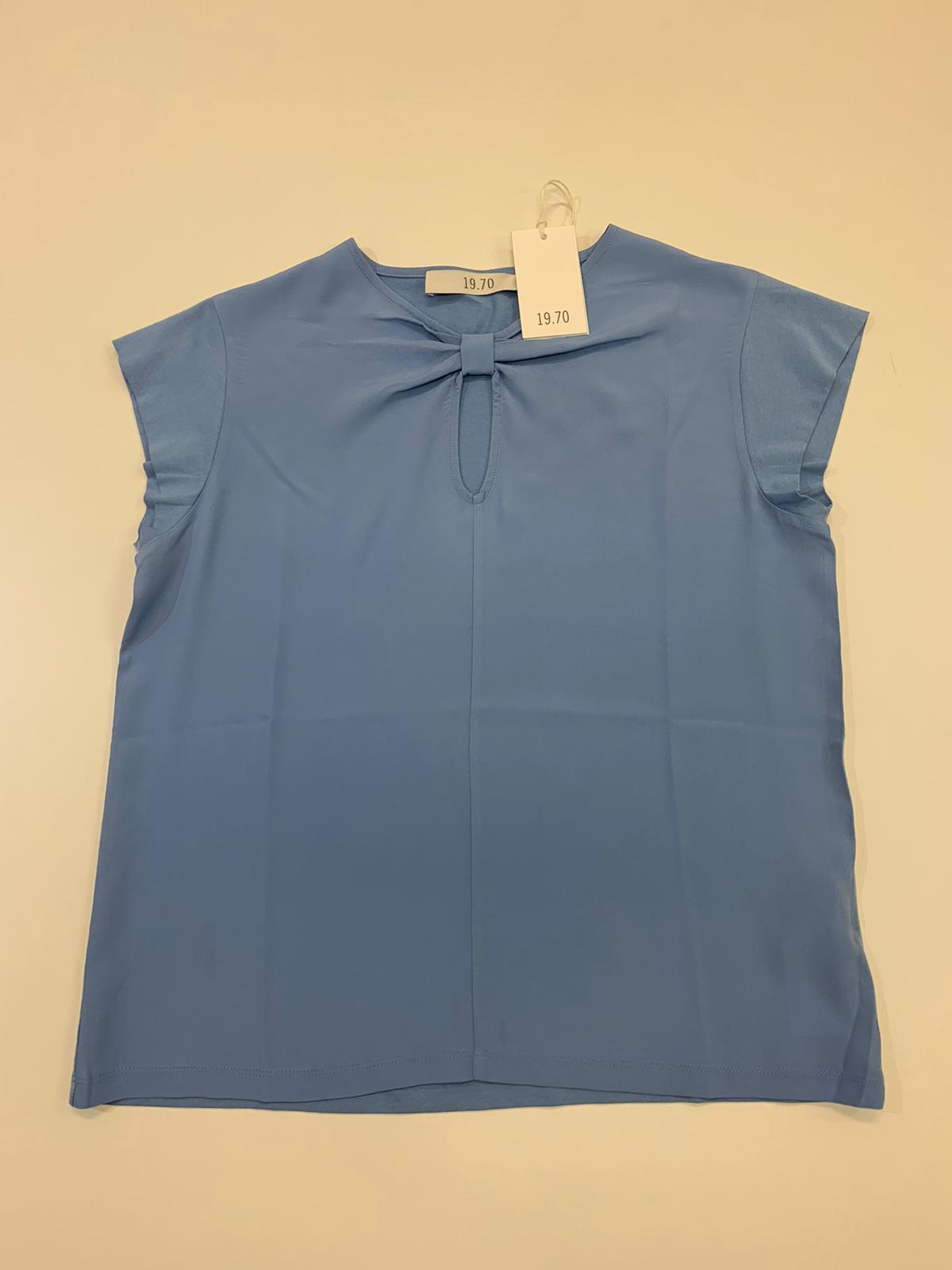 T-Shirt Donna Seventy Misto Seta Azzurro