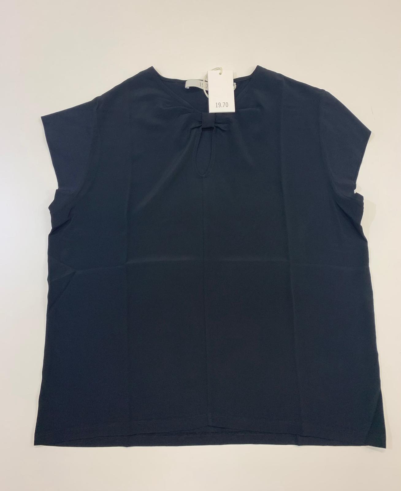 T-Shirt Donna Seventy Misto Seta Nero