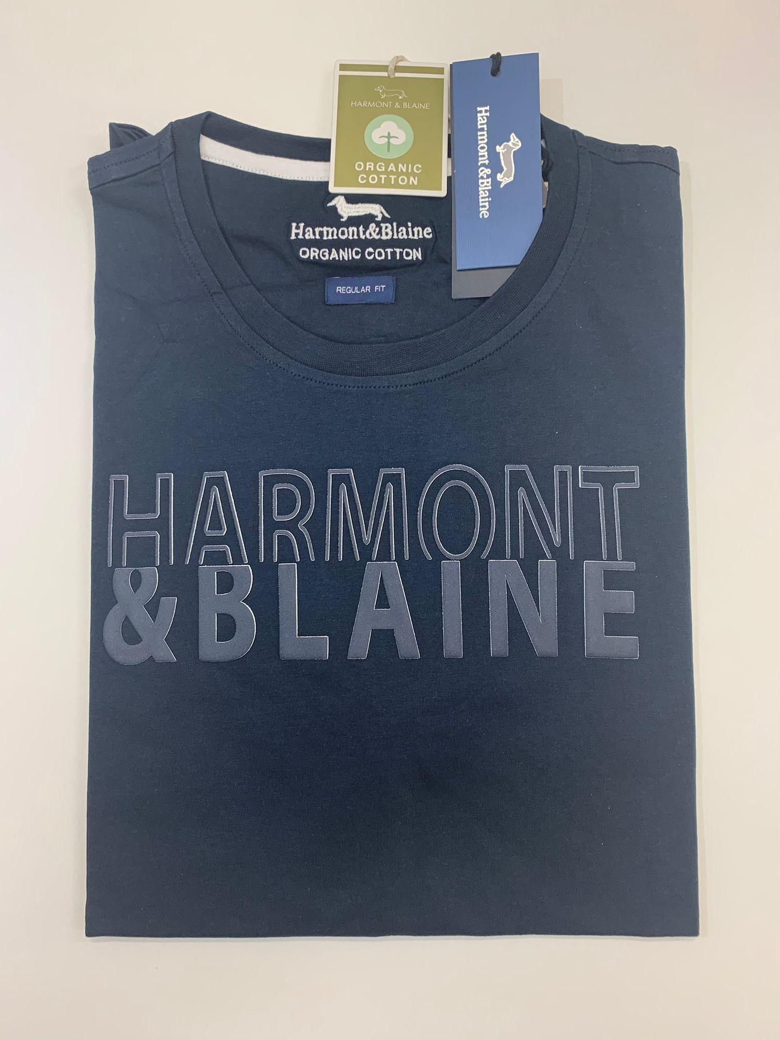 T-Shirt Harmont e Blaine Scritta Tinta su Tinta Blu