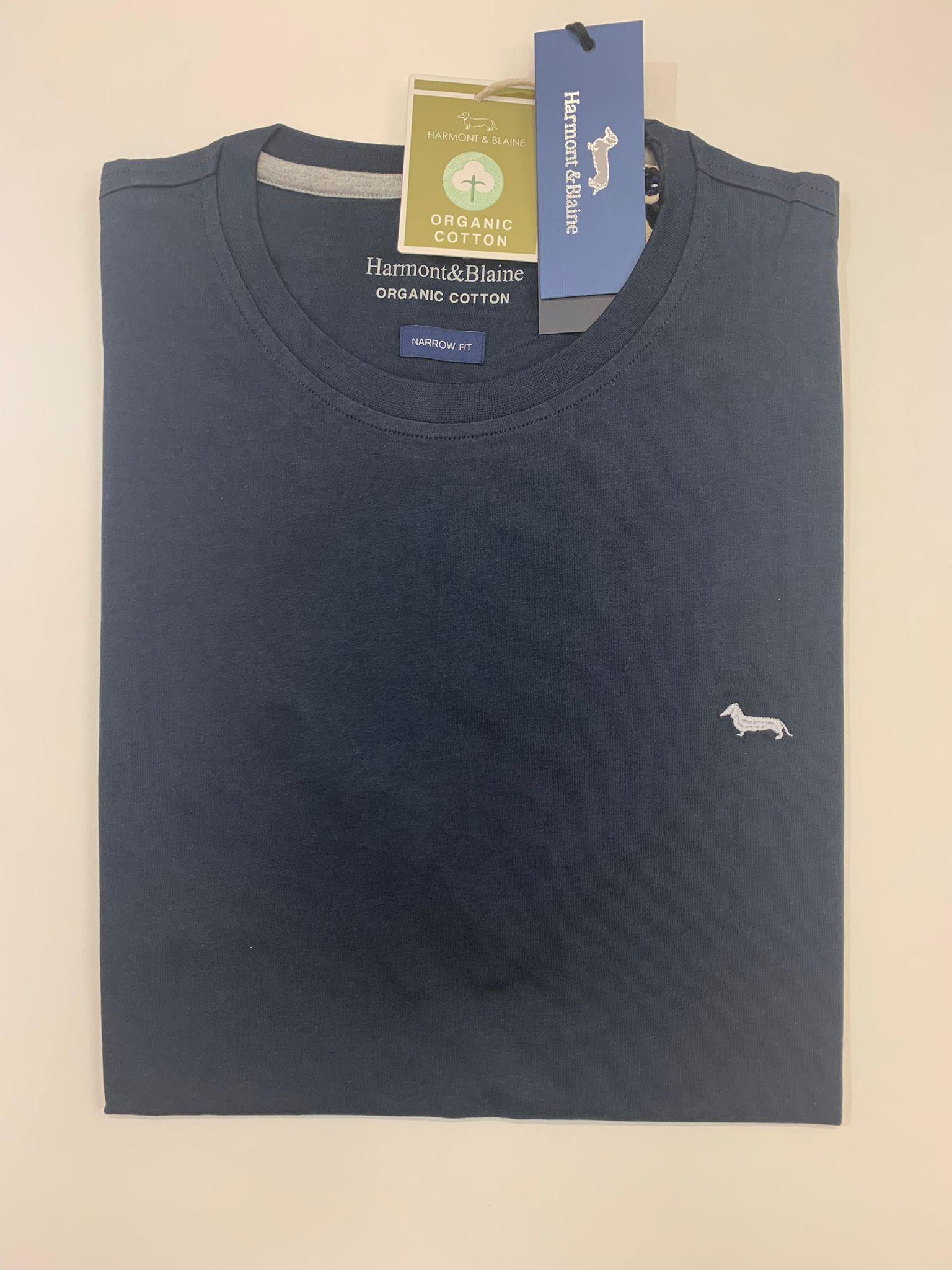 T-Shirt Harmont e Blaine Tinta Unita Blu