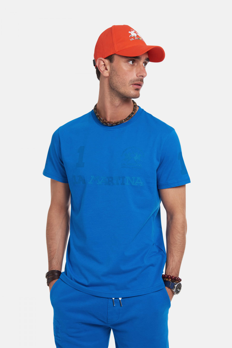 T-Shirt La Martina in Cotone Regular Fit Bluette