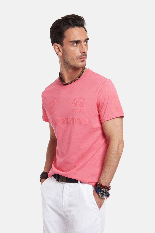 T-Shirt La Martina in Cotone Regular Fit Corallo