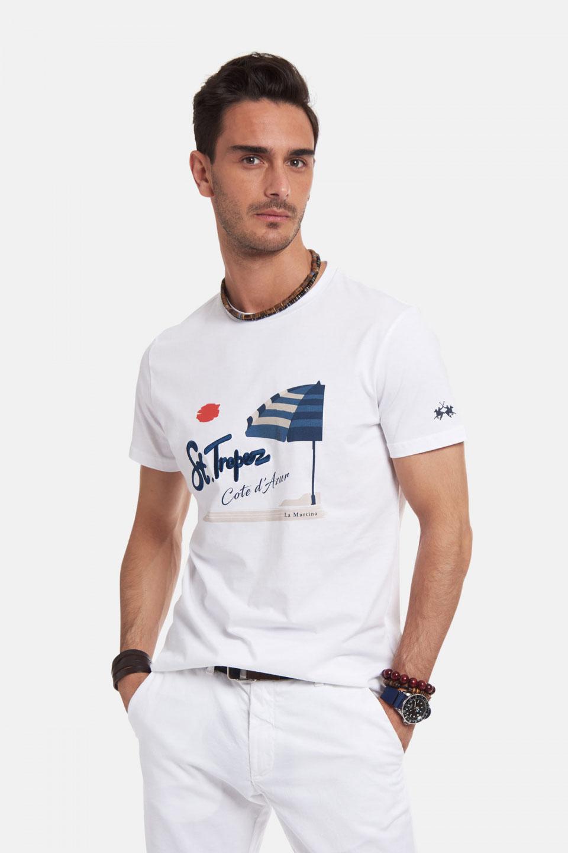 T-Shirt La Martina in Cotone regular Fit Stampa Bianco
