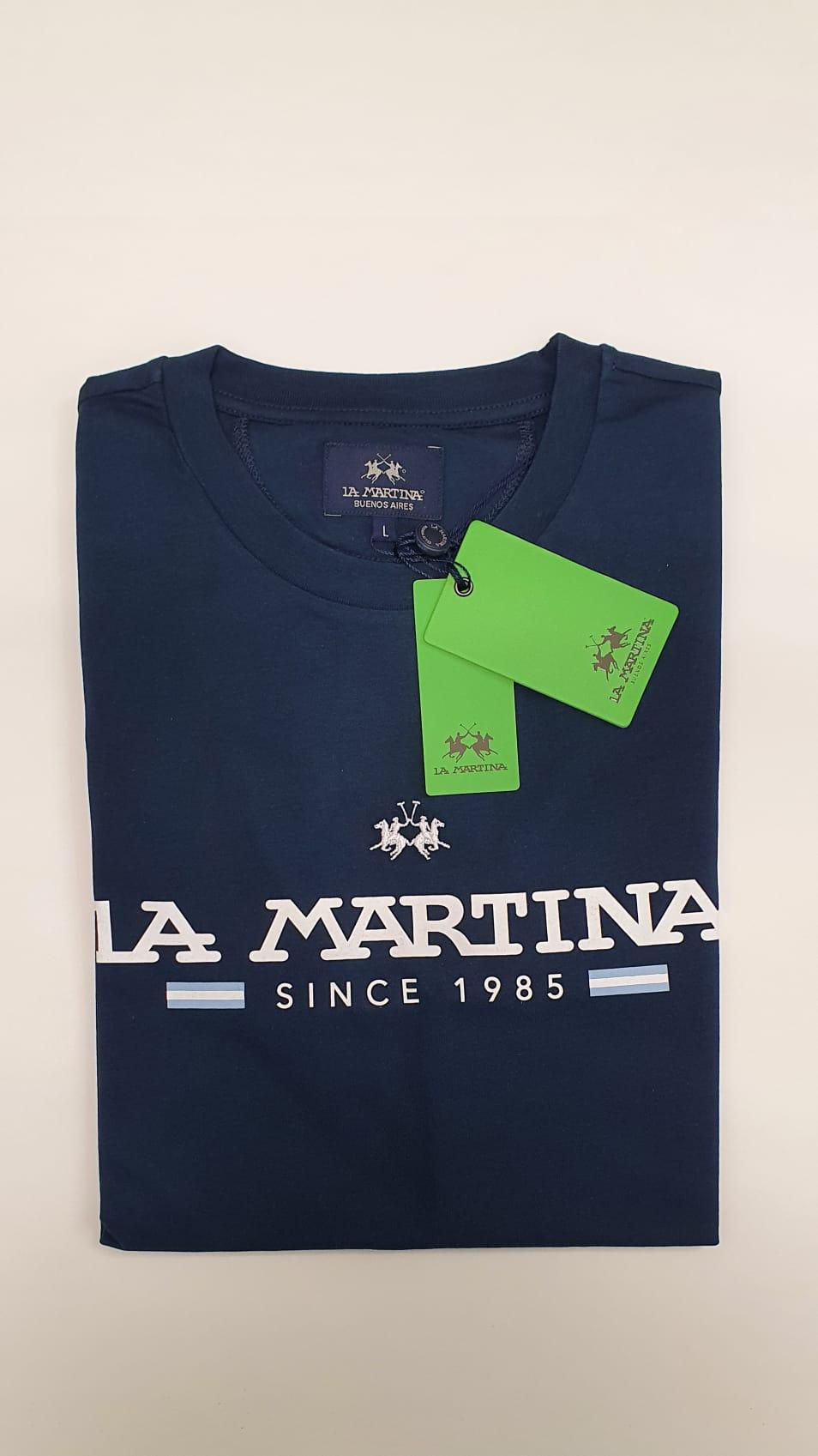T-Shirt La Martina Scritta Regular Blu